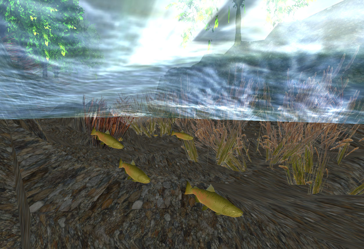 Screenshot from SalmonRun artificial-life simulation